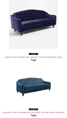 Urban Outfitters Ava Velvet Tufted Sleeper Sofa $749 vs Walmart 9 by Novogratz Vintage Tufted Sofa Sleeper $349