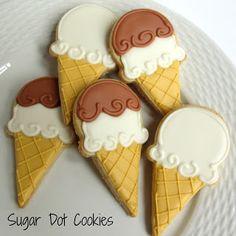 Sugar Dot Cookies: Ice Cream Cone Sugar Cookies with Royal Icing