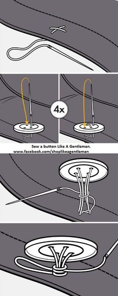 Securely sew on a button Like A Gentleman //