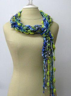 Spring Crocus braids Gypsy Fringe Scarf by PurpleSageDesignz, $ 17.00