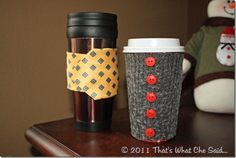 #DIY Upcycled Coffee Cozies.   These would make great gifts-- even kids could make them! I wonder if I could make one to fit my Diet Coke?  #Free #Sewing #Tutorial