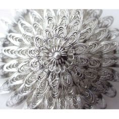 Vintage Thai Silver Brooch Large Cannetille Filigree Cone Shape