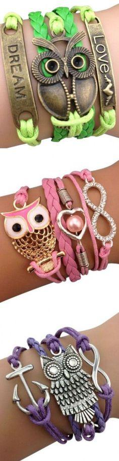 wrap bracelets, owl wrap