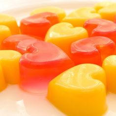 An easy and yummy recipe for Cheerful Jelly Hearts. These jellies are a fun treat.. Cheerful Jelly Hearts Recipe from Grandmothers Kitchen.
