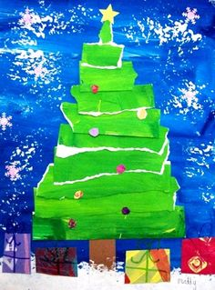 torn paper christmas tree:The second graders learned about blending colors, tearing paper carefully, and layering paper largest to smallest. Lastly they decorated their art with presents, ornaments, and snowflakes.