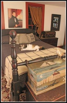 Prim Bedroom...love the painted chest at the foot of the bed....Circa Home Living.