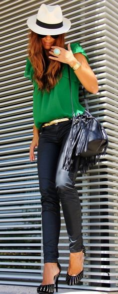 #black #leather pants + #green #blouse + #hat. Chic street outfit!