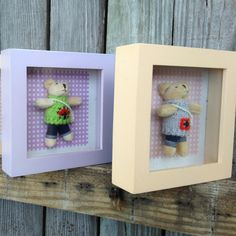 stuffies in a shadow box