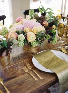 table settings, wedding ideas, menu cards, farm tables, wood tables, gold accents, diy gold decor centerpieces, flower, gold menu