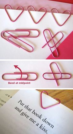 DIY Heart Shaped Paper Clips. If you haven't done these ones yet, you want. Great for notes for boyfriend.