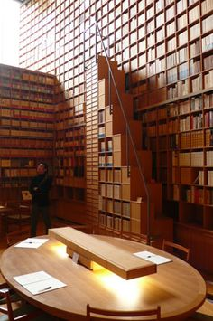 Ryotaro Shiba Museum by Tadao Ando = So many books that even the ladder has books stored underneath!