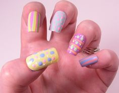 "Easter Manicures Nail Treatments ""Lovely Dots and Stripes Nail Treatments!"" via Lisa's Nail Obession  To See all our Magnificent Manicures Including all our Holiday Manicures see: http://stillblondeafteralltheseyears.com/category/manicures/  #manicures #HolidayManicures #Easter"