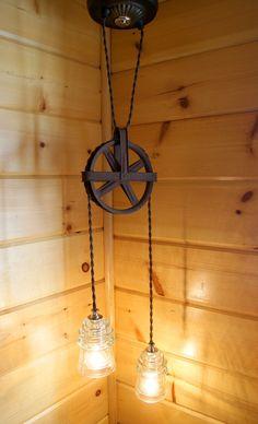 vintag insul, pulley, hang light, hanging lights, industri chic, chic vintag, vintage insulators, industrial chic, old barns