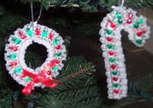 beaded wreath and candy cane ornament craft