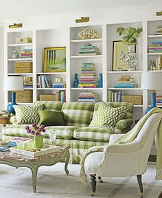 light, bright space - love the green check sofa!