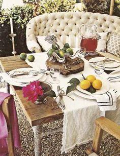outdoor seating, alfresco, al fresco dining, couch, outdoor table settings, farm tables, outdoor tables, outdoor spaces, garden