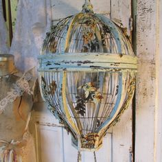 Huge hot air balloon birdcage very rusted  by AnitaSperoDesign, $480.00