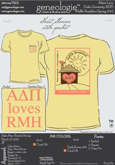 Our latest T-shirt!  Such a great design for Waffle Breakfast and Ronald McDonald House | Duke ADPi