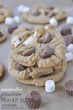 Marshmallow Chocolate Peanut Butter Cookies @yourhomebsedmom.com