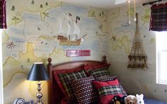 Pirate Boys Room mural... love the map