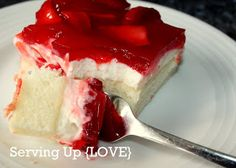Strawberry Cream Cake ~ white cake mix, bake and cool; combine cream cheese and powdered sugar, fold into whipped cream, spread over cake and refrigerate; cook package of danish strawberry dessert with strawberry juice, add sliced strawberries and cool, spread on top of cream cheese layer; refrigerate and chill completely before serving.