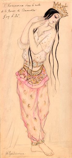 Natalia Goncharova (1881-1962). Le Coq d'Or, Costume design for Tamara Karsavina as the Queen of Shemakhan, 1914. Watercolor, ink, and pencil. George Chaffée Collection. Gift, 1949.