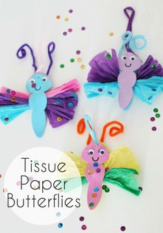 Colourful tissue paper butterfly craft idea.