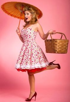 Pinup Fashion: cute white cherry dress and red petticoat!