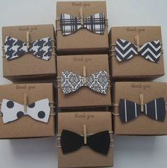 25 bow tie favor boxes  Little man baby shower black and white  bow ties