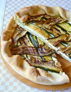 torta salata di pasta matta con zucchine grigliate e ricotta