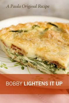 Paula Deen Bobby's Lighter Spinach and Bacon Quiche