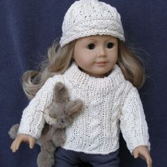 """Knitting and crochet patterns for 18"""" dolls."""