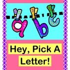 """HEY, PICK A LETTER!"" - GROUP GAME FUN!  Use this easy Group Game and wonderful Song during your Circle Time!  Work with LETTER RECOGNITION and INITIAL SOUNDS IN WORDS, the active way!  Introduce a new letter/sound, or review ones you have already covered.  A full set of colorful LETTER CARDS is provided for game play.  Get out your shakers for an irresistible rhythm pattern!  Simple song notes are included.  Give an 'action step' to your learning!  (8 pages)  From Joyful Noises Express TpT!  $"