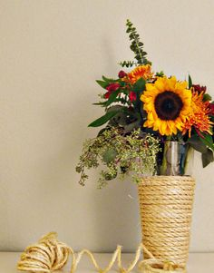 """DIY instructions for rope wrapping 'vases""""'"""