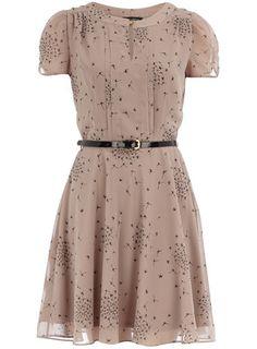 Black bird print tea dress