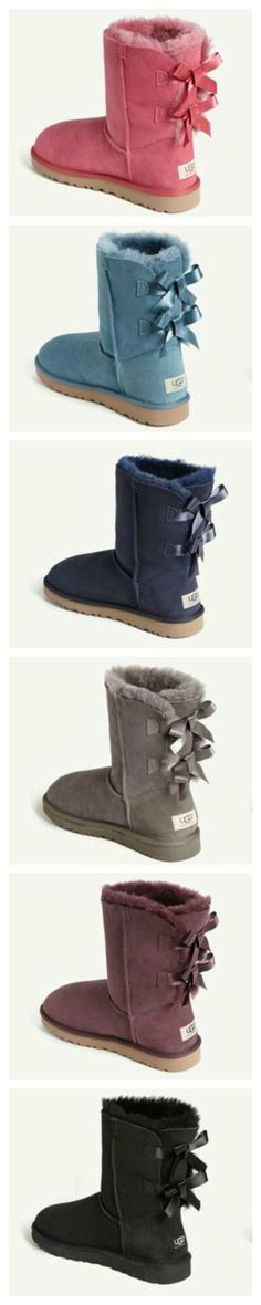 UGG Bow Boots. So colorful & comfy. ugg boots, bow boot, color, ugg australia, bows, the navy, blues, black, christma