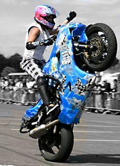 My Idol Jessica Maine, a 5'2'' tall female motorcycle stunt rider! <3