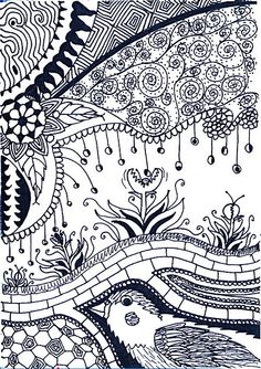 art stuff, doodle patterns, student, bird garden, art sketches, zentangle doodle, zen tangles, pattern art, doodle art