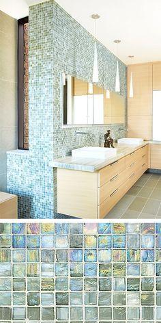 Walker Zanger's Vintage Glass in Onyx Lustre makes this bathroom shine!