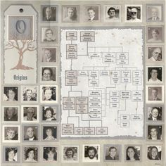 Origins...scrap your family tree in the center and give each member a reference number. Display their photos with the numbers on the page edges...Fantastic design!