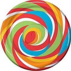 Our #SugarBuzz Dessert Plates has the look of a giant piece of red, green, yellow, orange and blue candy.