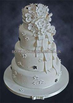 Fantasy Flowers and Ribbons Wedding Cake