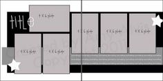 2 page layout, 6 photo, Photos: 5 vertical 1 horizontal