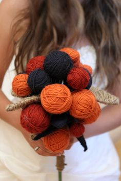handmade bouquet, made by the bride using yarn and twine by Stefan & Sarah's Wedding, via Flickr