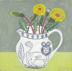 Debbie George. Lion Jug and Dandelions