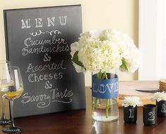 Martha Stewart Crafts® Entertaining decor - Chalkboard Menu, Wine glasses, votives and vase - click thru for the full how to #marthastewart #marthastewartcrafts #plaidcrafts #diy #crafts