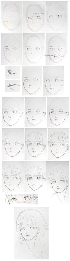 教你画个美人头, How to Draw Manga People,Resources for Art Students / Art School Portfolio @ CAPI ::: Create Art Portfolio Ideas at milliande.com , How to Draw Manga Figures, Whimsical Human Figure, Sketch, Draw, Manga, Anime
