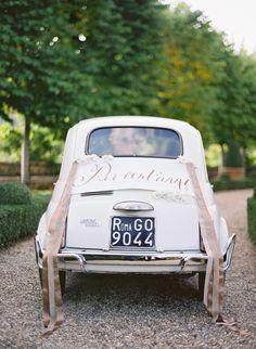Romantic Vintage Wedding Getaway Car