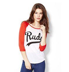 """""""Rude"""" Baseball Tee."""