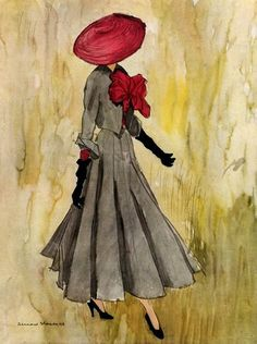Christian Dior design illustrated by Bernard Blossac, 1948